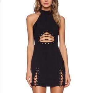 NBD black lace up dress
